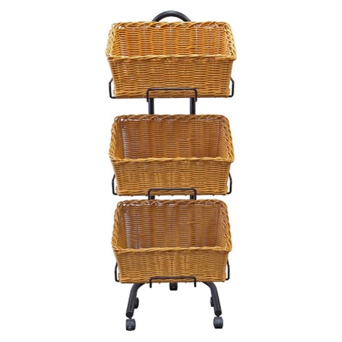Polywicker Slanted Baskets Triple Stand